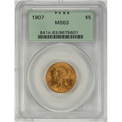 1907 $5 Liberty Head Half Eagle Gold Coin PCGS MS63 Old Green Holder