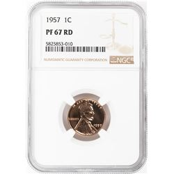1957 Proof Lincoln Wheat Cent Coin NGC PF67RD
