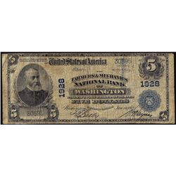 1902 PB $5 F & M of Washington, District of Columbia CH# 1928 National Currency Note