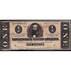 1864 $1 Confederate States of America Note