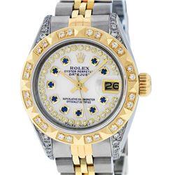 Rolex Ladies Two Tone 14K MOP Sapphire & Pyramid Diamond Datejust Wriswatch