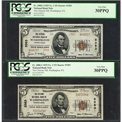 1929 $5 Ty.1/2 Citizens NB Washington, PA CH# 3383 National Currency Notes PCGS VF30PPQ