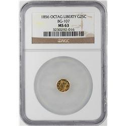 1856 Liberty Octagonal Gold Quarter Coin NGC MS63 BG-107