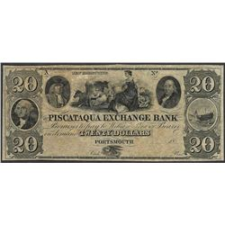 1800's $20 The Piscataqua Exchange Bank Portsmouth, New Hampshire Obsolete Note