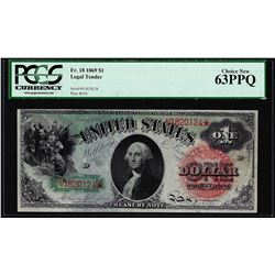 1869 $1 Rainbow Legal Tender Note Fr.18 PCGS Choice New 63PPQ