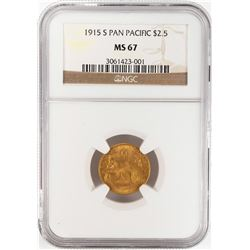 1915-S $2 1/2 Pan Pacific Quarter Eagle Gold Coin NGC MS67