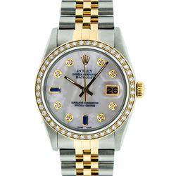Rolex Men's Two Tone 14K Mother Of Pearl Diamond 36MM Datejust Wristwatch