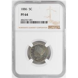 1886 Proof Liberty V Nickel Coin NGC PF64