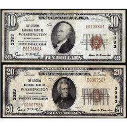 Lot of 1929 $10/20 Citizens NB Washington, PA CH# 3383 National Currency Notes