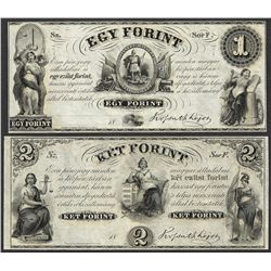 Lot of 1800's $1 Egy Forint and $2 Ket Forint Obsolete Notes
