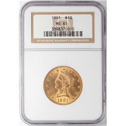 1901 $10 Liberty Head Eagle Gold Coin NGC MS61