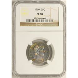1909 Proof Barber Quarter Coin NGC PF68 Amazing Toning