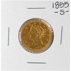 1855-S $5 Liberty Head Half Eagle Gold Coin