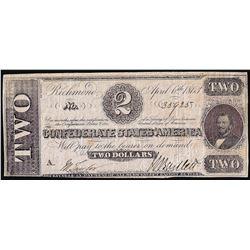 1863 $2 Confederate States of America Note