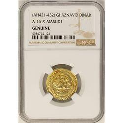 AH421-432 Ghaznavid Dinar A-1619 Masud I Gold Coin NGC Genuine