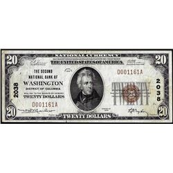 1929 $20 Second NB of Washington, District of Columbia CH# 2038 National Currency Note