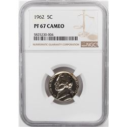 1962 Proof Jefferson Nickel Coin NGC PF67 Cameo