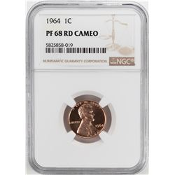 1964 Proof Lincoln Memorial Cent Coin NGC PF68RD Cameo