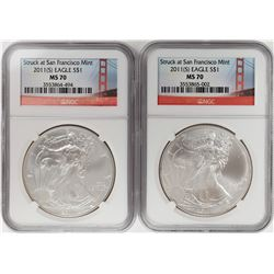 Lot of (2) 2011-S $1 American Silver Eagle Coins NGC MS70
