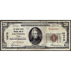 1929 $20 United States NB of Galveston, TX CH# 12475 National Currency Note