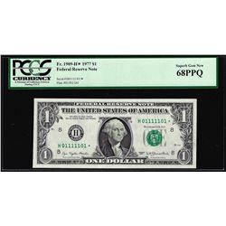 Fancy Binary Serial # 1977 $1 Federal Reserve STAR Note PCGS Superb Gem New 68PPQ