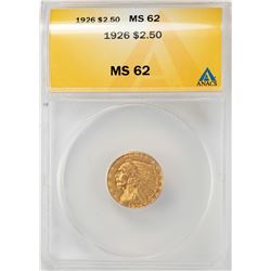 1926 $2 1/2 Indian Head Quarter Eagle Gold Coin ANACS MS62
