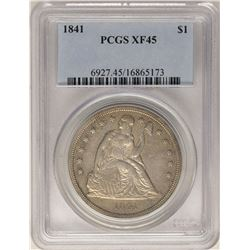 1841 $1 Seated Liberty Silver Dollar Coin PCGS XF45