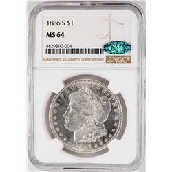 1886-S $1 Morgan Silver Dollar Coin NGC MS64 CAC