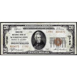 1929 $20 Hamilton NB of Washington, D.C. CH# 13782 National Currency Note