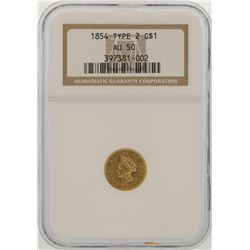 1854 Type 2 $1 Indian Princess Head Gold Dollar Coin NGC AU50