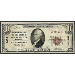 1929 $10 NB & Trust Company of Minneapolis, MN CH# 9409 National Currency Note