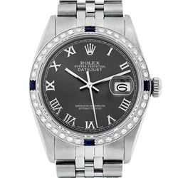 Rolex Mens Stainless Steel Dark Rhodium Roman Diamond & Sapphire Datejust Wristwatch