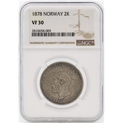 1878 Norway 2 Kroner Silver Coin NGC VF30