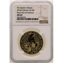 2018 Great Britain 100 Pounds Black Bull of Clarence Gold Coin NGC MS69