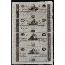 Uncut Sheet of 1800's $5/5/10/10 Farmer's & Merchants Bank of Baltimore Obsolete Notes