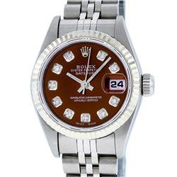 Rolex Ladies Stainless Steel Brown Diamond Quickset Datejust Wristwatch