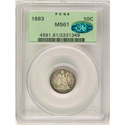 1883 Seated Liberty Dime Coin PCGS MS61 CAC Old Green Holder