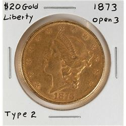 1873 Open 3 $20 Liberty Head Double Eagle Gold Coin