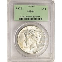 1926 $1 Peace Silver Dollar Coin PCGS MS64 Old Green Holder