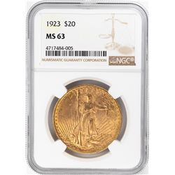 1923 $20 St. Gaudens Double Eagle Gold Coin NGC MS63