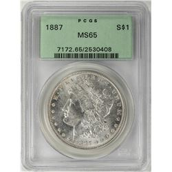 1887 $1 Morgan Silver Dollar Coin PCGS MS65 Old Green Holder