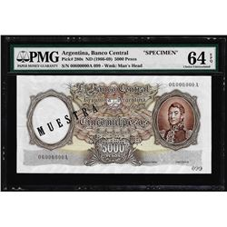 1966-69 Argentina 5000 Pesos Banco Cental Specimen Note PMG Choice Uncirculated 64EPQ