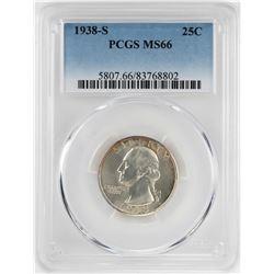 1938-S Washington Quarter Coin PCGS MS66