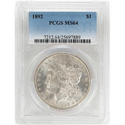 1892 $1 Morgan Silver Dollar Coin PCGS MS64