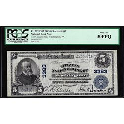 1902PB $5 Citizens NB of Washington, PA CH# 3383 National Currency Note PCGS VF30PPQ