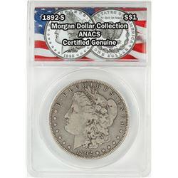 1892-S $1 Morgan Silver Dollar Coin ANACS Certified Genuine
