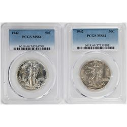 Lot of (2) 1942 Walking Liberty Half Dollar Coins NGC MS64
