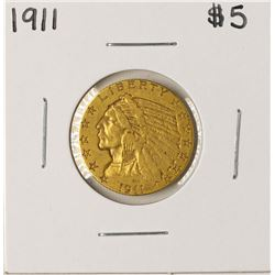 1911 $5 Indian Head Half Eagle Gold Coin