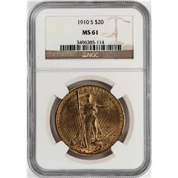 1910-S $20 St. Gaudens Double Eagle Gold Coin NGC MS61