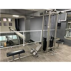 GREY 4 STATION CABLE PULL MULTI GYM MACHINE WITH 4 ACCESSORIES